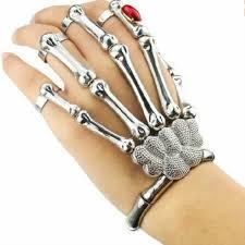metal skeleton ring holder images Halloween silver punk rock skeleton skull hand bone ring bracelet jpg