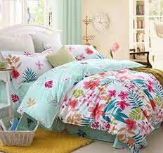 Hawaiian Style Bedroom Furniture Girls Tropical Print Beach Style Bedding Home Decor Ideas