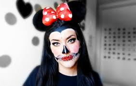 Minnie Mouse Halloween Makeup by Maquillaje Para Carnaval Minnie Mouse De Calavera Tutorial