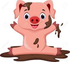 funny pig playing mud royalty free cliparts vectors