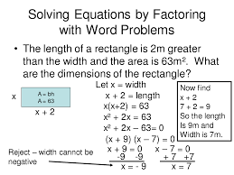solving quadratic equations by factoring word problems jennarocca