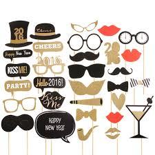 32pcs diy mask gold photo booth props mustache stick wedding