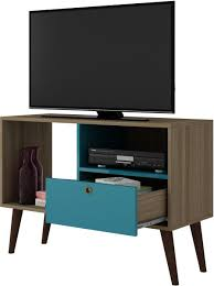 table with drawers and shelves brv moveis tv stand table with two shelves and one drawer brown