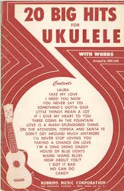 vintage ukulele song books and song sheets