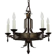 Tudor Chandelier Antique Cast Iron Tudor Chandelier C 1920 Preservation