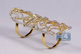 double rings jewelry images Womens diamond long double ring 18k yellow gold 2 64 ct jpg