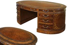 Partner Desk Home Office Mahogany And Walnut Traditional Leather Top Partners Desk