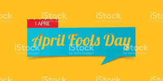 april fools day banner isolated on yellow background banner design