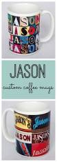 custom coffee mugs featuring the name jason in photos of signs