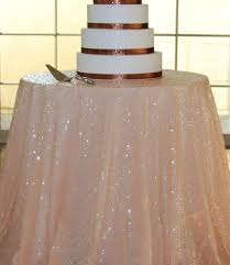 48 Round Tablecloth Elegant 108in Round Peach Mesh Embroidery Sequin Tablecloth For