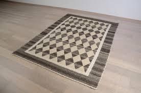 tappeto disegno 9 tappeto in cotone panna con disegno quadretti tortora
