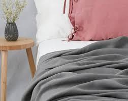 Summer Coverlet Dove Grey Heavy Linen Bed Cover Coverlet Linen Summer