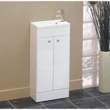 Compact Vanities Milan Small Floor Standing Vanity Basin Unit Gloss White W400 X