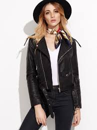 moto jacket faux leather moto jacket with buckle belt shein sheinside