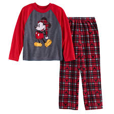 mickey mouse boys 4 12 top microfleece bottoms pajama set by