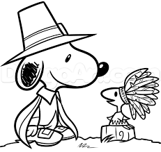 thanksgiving snoopy and woodstock drawing lesson step by step