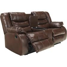 Leather Reclining Sofa With Console by Ashley Linebacker Reclining Console Loveseat Ashley Furniture