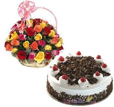 1 pound black forest cake with 20 pc multicolour rose bouquet