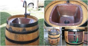 Outdoor Sink Ideas How To Repurpose A Wine Barrel Into An Outdoor Sink How To