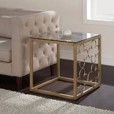 quatrefoil goldtone metal and glass coffee table free shipping