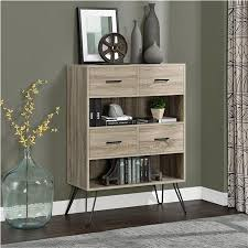 ameriwood furniture landon retro bookcase with bins weathered oak