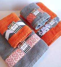 bathroom cute set of 4 bath towels set in gray and orange color