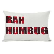 modern decorative throw pillows allmodern holiday bah humbug plaid