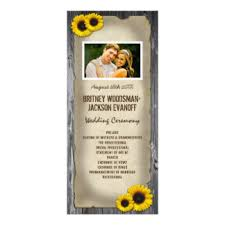 sunflower wedding programs barn wood wedding programs gifts on zazzle