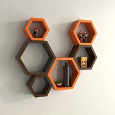 decornation wall shelf rack set of 6 hexagon shape storage wall