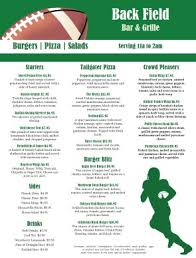 Sports Bar Menu Templates football sports bar menu sports bar menus