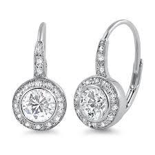 leverback earrings 6mm 5a cz bezel set halo leverback earrings jewelure