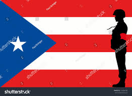 Red Flag Band Puerto Rican Flag Silhouette Soldier Red Stock Vector 110324108