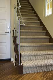 Stair Laminate Flooring Patterned Carpet With Recessed Lighting