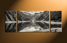 Wall Art Home Decor 3 Piece Black And White Mountain Canvas Photography