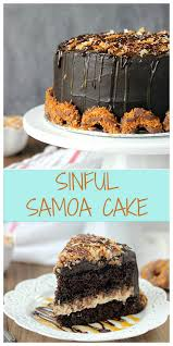 sinful samoa cake chocolate cake cream cheeses and caramel