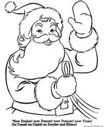 santa claus reindeer free coloring image print kids kid