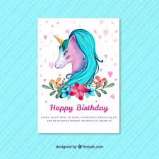 watercolor unicorn birthday card vector free download