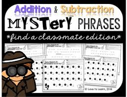 how to find a classmate addition subtraction math mystery phrases find a classmate edition