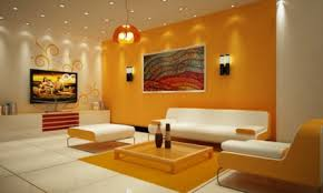 Wall Interior Design Yellow Orange Walls Bright Yellow And Orange With Abstract Art