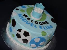 blue green amp brown baby shower cake with soccer balls and baby
