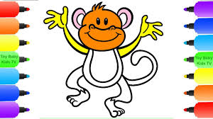 how to draw monkey for kids coloring pages animals for children