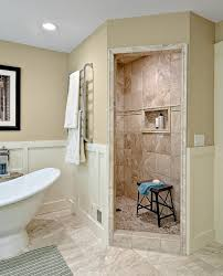 bathroom wainscoting with roman shower and towel warmer also