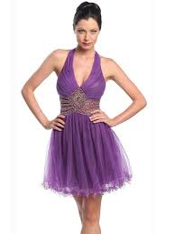 halter neck purple tulle short length wedding guest gown of