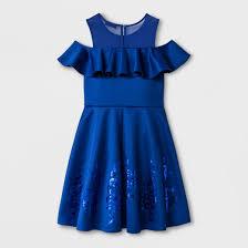 girls u0027 disney descendants cold shoulder skater dress blue target