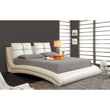 Platform Bed White Ourem California King Size Bed White Finish