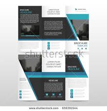 blue triangle business trifold leaflet brochure stock vector