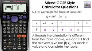 input output tables calculator complete a table and graph using table mode gcse maths casio