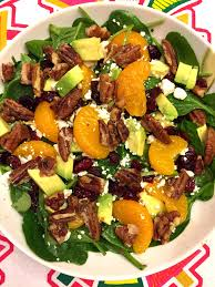 spinach salad with candied pecans dried cranberries avocado