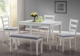 set cuisine i 1210 white 5pcs dining set with a bench and 3 side chairs 47 l