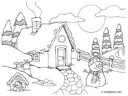Un chalet sous la neige  coloriage Nature gratuit sur Webjunior